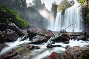 Waterfall landscape panorama. Outdoor hdri photography photo