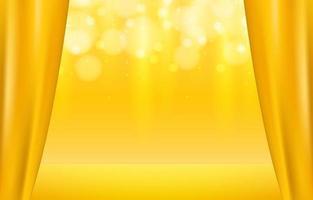 escenario dorado con fondo brillante vector