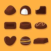 deliciosa colección de elementos de chocolate vector