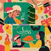 Family Gathering on Christmas Day vector