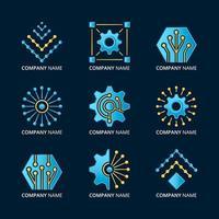 conjunto de logotipo de tecnología degradado vector