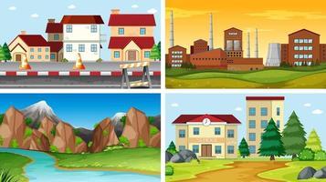 Set of outdoor scenes and buildings  vector
