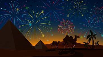Desert night with fireworks celebration vector