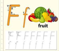 Letra f trazando la hoja de trabajo del alfabeto con fruta vector