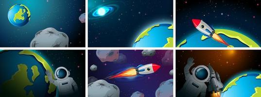 Set of space scenes vector