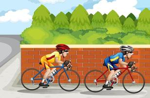 dos hombres en bicicleta en carrera vector