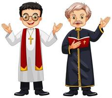 Two priests in robes vector