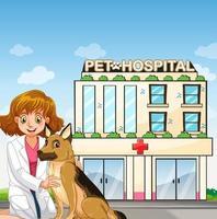 Vet and dog at animal hospital vector