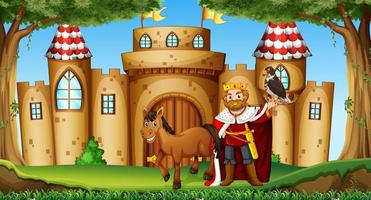 King and horse at castle vector