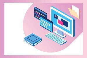 tecnología de big data con computadora de escritorio vector