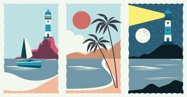 conjunto de sellos de escena de paisaje marino vector