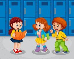 Children in the school hallway vector