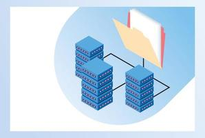 Big data technology with servers and folder