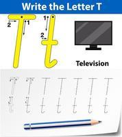 trazar la hoja de trabajo de la letra t con la televisión vector