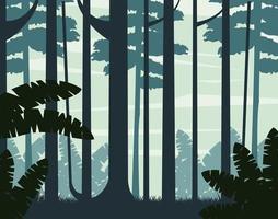 Foggy woods landscape background  vector