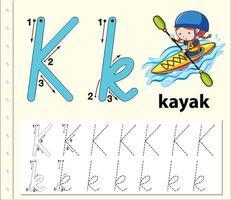 hoja de trabajo del alfabeto de trazado de la letra k con kayak vector