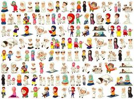 Set of Different Muslim People Character on White Background