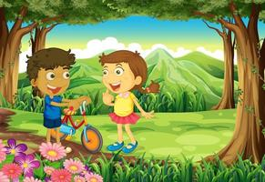 Two kids with bike in forest  vector