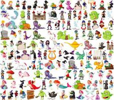 conjunto de personagens de desenhos animados de fantasia