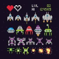 Set of video game space icons vector