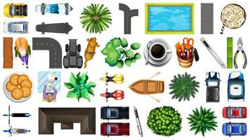 Set of top view park elements  vector