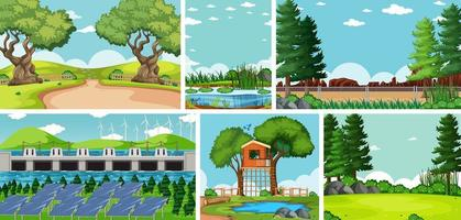 conjunto de paisajes de dibujos animados