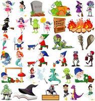 conjunto de personajes de dibujos animados de fantasía vector