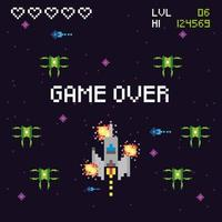 Escena espacial de videojuegos con mensaje de juego terminado. vector