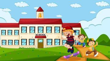 crianças brincando na frente da escola vetor