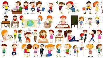 conjunto de niños de dibujos animados haciendo actividades