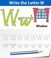 Letra w trazando la hoja de trabajo del alfabeto con ventana vector
