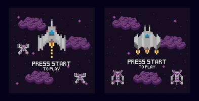 Escena espacial de videojuegos con mensaje de inicio de prensa. vector
