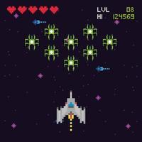 escena espacial de videojuegos retro vector