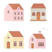 Different houses exterior construction set vector