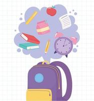 De vuelta a la escuela. mochila con objetos vector