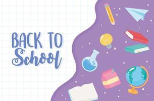 Back to school. Chemistry flask, book, and paper plane vector