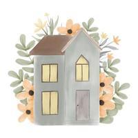 acuarela hogar dulce hogar con flores vector