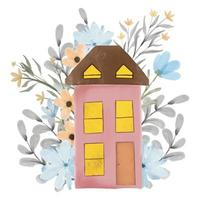 House with flower and leaves vector