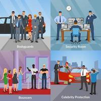 Security bodyguard flat 2x2 vector
