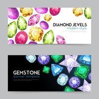 Gemstones diamond jewels banners vector