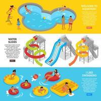 Water aqua park banners vector