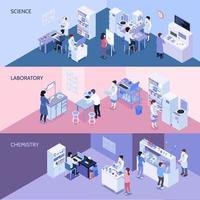 Isometric laboratory horizontal banners vector