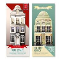 Old european facade house banners vector