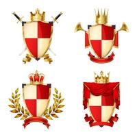 Crowns gold heraldic compositions