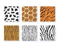 Conjunto de patrones de rayas de piel de animal de la selva vector
