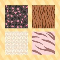 Animal skin print patterns on striped yellow background