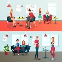 Creative team coworking people gradient flat compositions