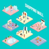 Shopping mall set object vector