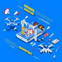 Drones isometric composition