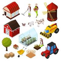 Organic farming products isometric icons set vector